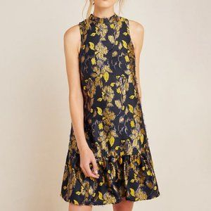 Navy Blue and Gold Anthropologie Swing Dress (NWT)